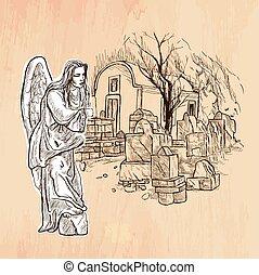 Angel - An hand drawn vector. Line art.