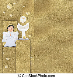 Angel and calyx Communion card
