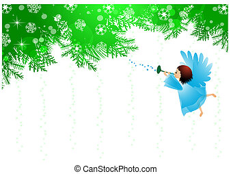 Angel and Christmas background - Vector illustration of...