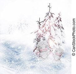 Angel and Christmas tree