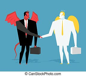 Angel and demon deal. Satan and angel shake hands. Handshake of businessmen. ?ontract between devil and angel. Agreement between heaven and hell. Lucifer in business suit and cherub manager paradise