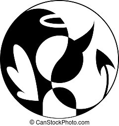 Angel and demon - Silhouette of angel and demon in Yin Yang...