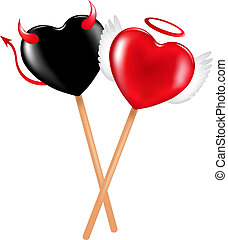 Angel And Demon Lollipops - Two lollipops with heart shape...