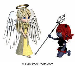 angel and devil - 3d render