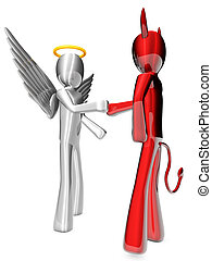 Angel and Devil agreement - A cartoon Angel and Devil ...