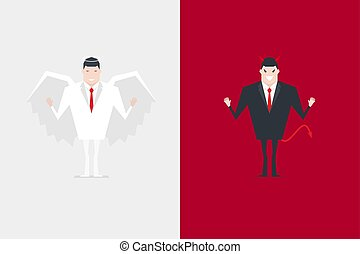 Angel and devil businessman cartoon character.