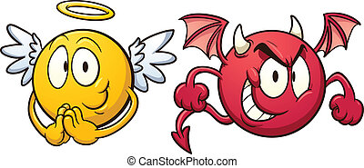 Angel and devil emoticons. Vector clip art illustration with...