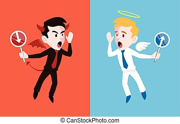 Angel and devil. Vector flat cartoon illustration