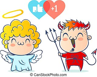 Angel and devil.