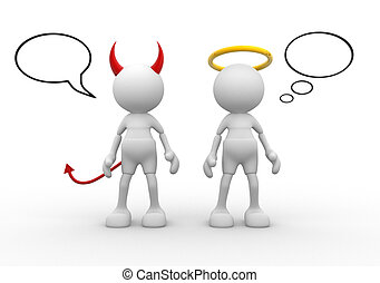 Angel and devil - saint evil god bad. 3d people - man, ...