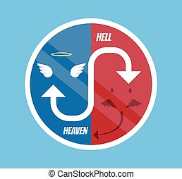 Angel and devil symbol. Vector flat cartoon illustration