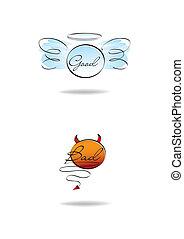 angel and devil symbols