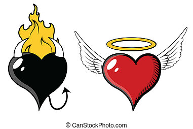 Angel and Evil Heart - Vector
