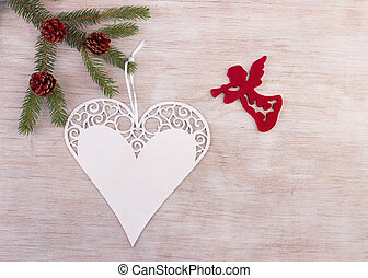 Angel and heart as Christmas decoration - White xmas...