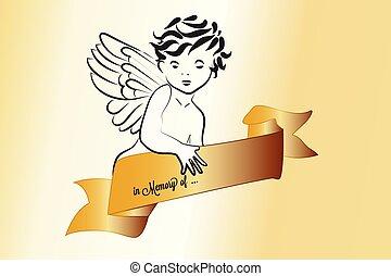Angel and ribbon religious symbol logo vector