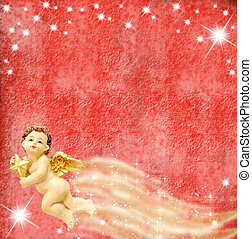 Angel and stars on red background