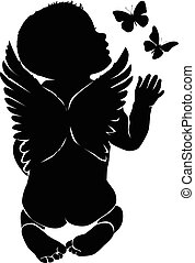 Silhouette of kid smelling butterflies flying around him.