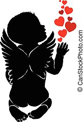 Angel baby with red hearts.