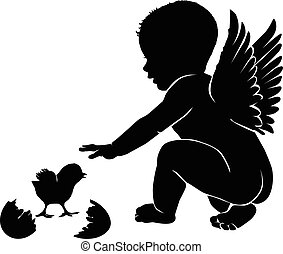 Angel baby with wings Easter chick