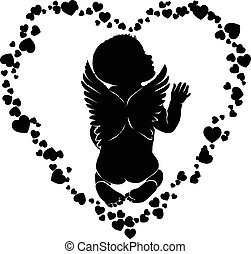 Angel baby silhouette with wings in hearts.