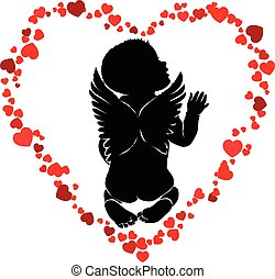 Angel baby with wings in red hearts