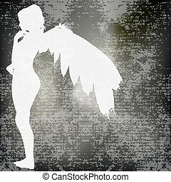 Angel Background - Angel Vector with an winged girl over a ...