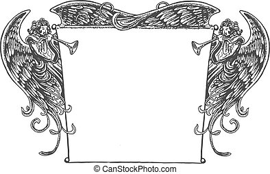 Angel Banner, Vintage Style - Old fashioned drawing of...