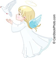 Angel - Beautiful angel releases doves in the sky