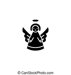 Angel black icon concept. Angel flat  vector symbol, sign, illustration.