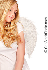 Angel Blond - angel blond woman isolated on white background