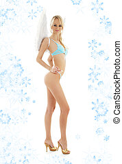 angel blond in blue lingerie with snowflakes