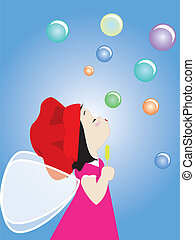 angel blowing bubbles - illustrtion of a kid blowing...