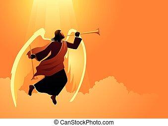 Angel blowing trumpet