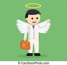 angel businessman with briefcase