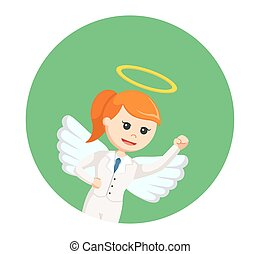 angel businesswoman flying in circle background