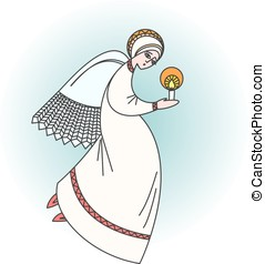 Angel character praying with a candle in hands. Stock vector illustration on religious occasions.