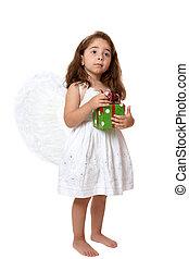 Angel child holding a present