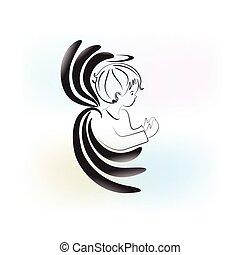 Angel child praying logo