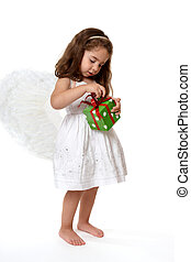Angel child with Christmas present