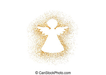 Angel Christmas decoration on golden glitter isolated on white background