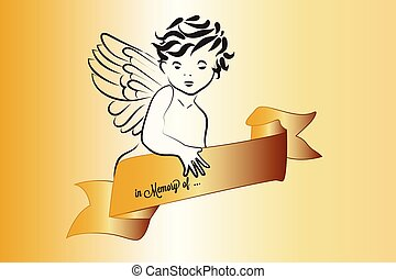 Angel Christmas symbol with ribbon gold vector image