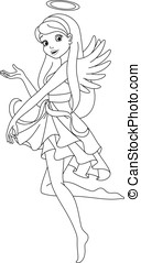 Angel coloring page - Angel girl invites, coloring page