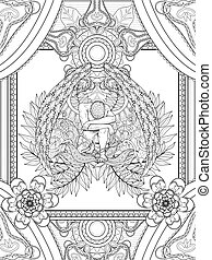 angel coloring page - elegant angel coloring page with...