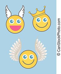 Angel, Cupid and King Smiley Vector