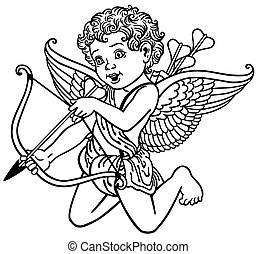 angel cupid black and white - cartoon cupid angel shooting...