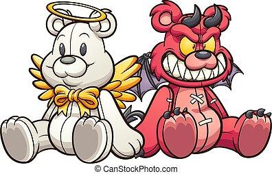 Angel devil teddy
