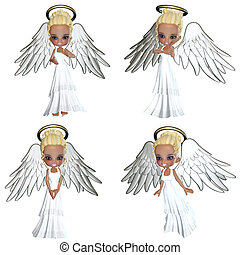Angel - sweet angels with halo - isolated on white