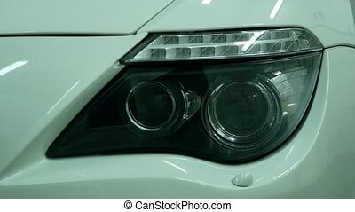 Angel eyes xenon headlight glowing optics lens.