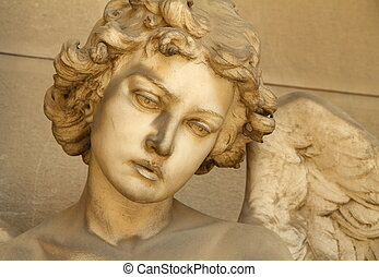 artistic sculpture of angel ,Monumental Cemetery of Staglieno, Genoa, Italy, Europe