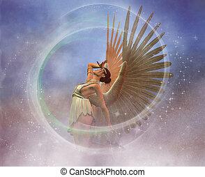 Angel - Fantasy angel image in misty clouds.